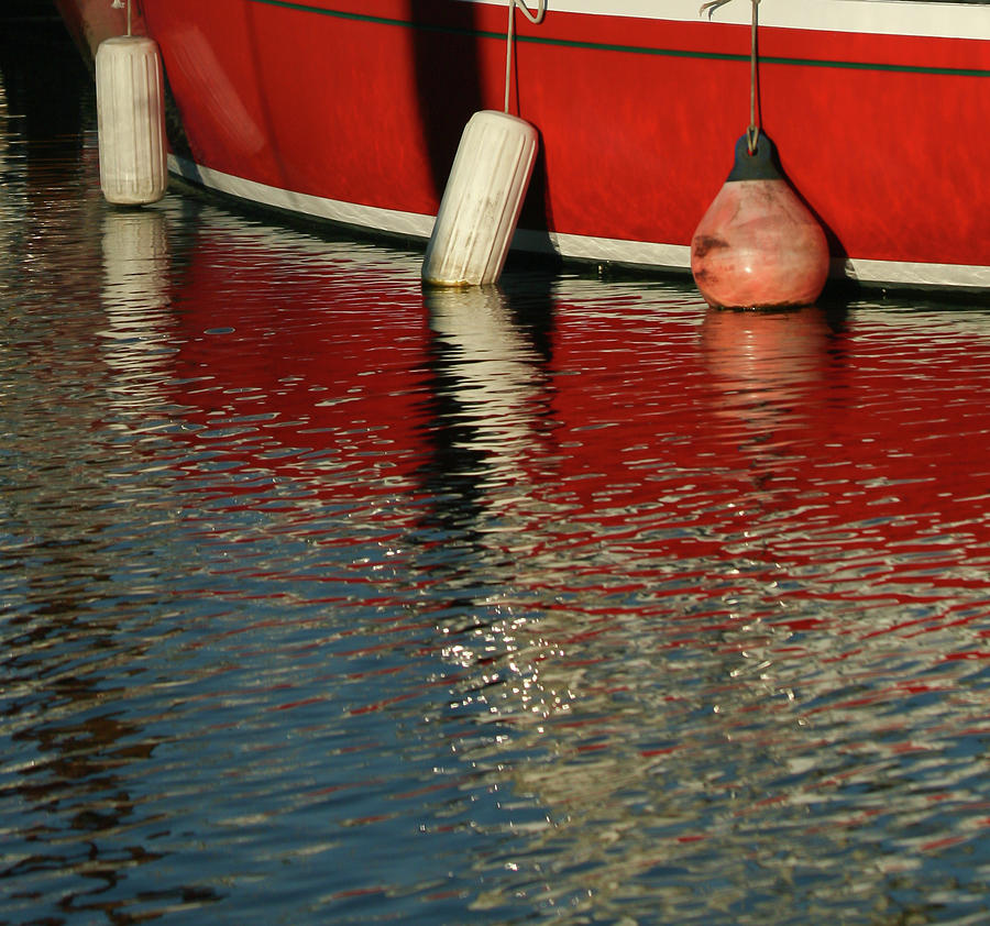 Docked Red Boat by Melodie Douglas