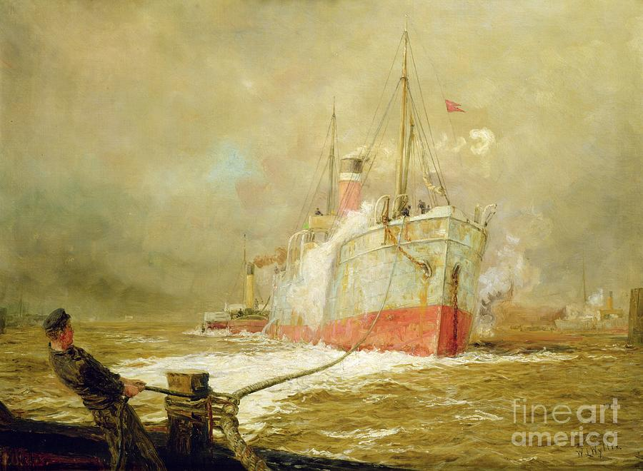 Docking Painting - Docking A Cargo Ship by William Lionel Wyllie