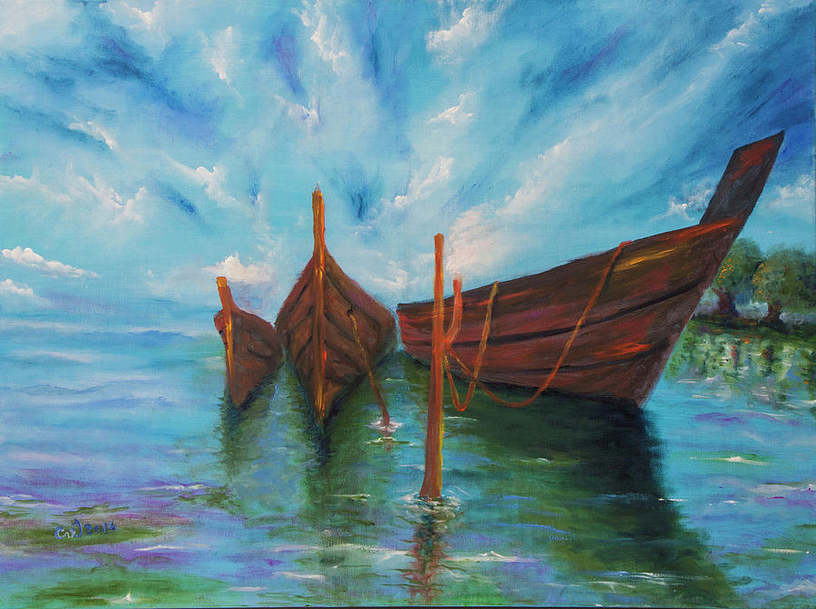 Painting Painting - Docking by Itzhak Richter
