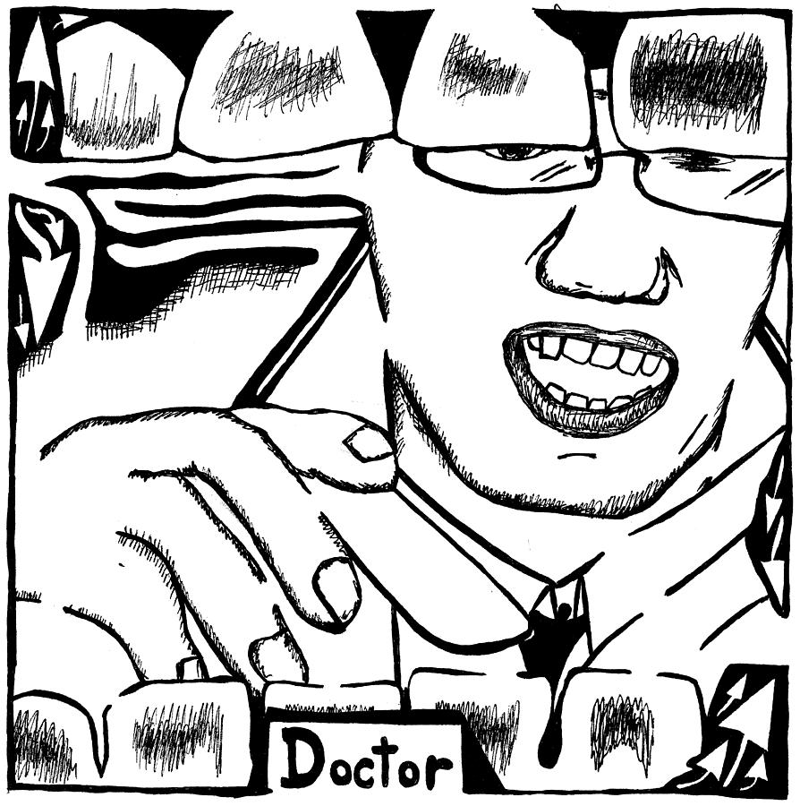 Tongue Depressor Drawing - Doctor Maze by Yonatan Frimer Maze Artist