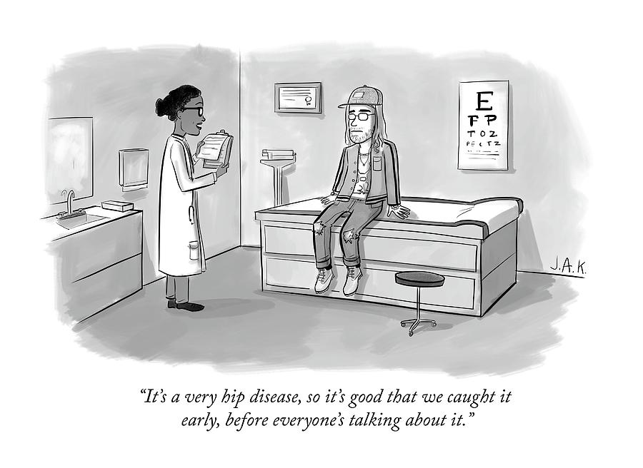 Doctor talks to hipster patient with hip new disease Drawing by Jason Adam Katzenstein