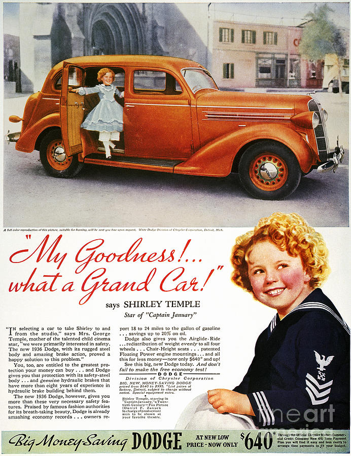 1936 Photograph - Dodge Automobile Ad, 1936 by Granger