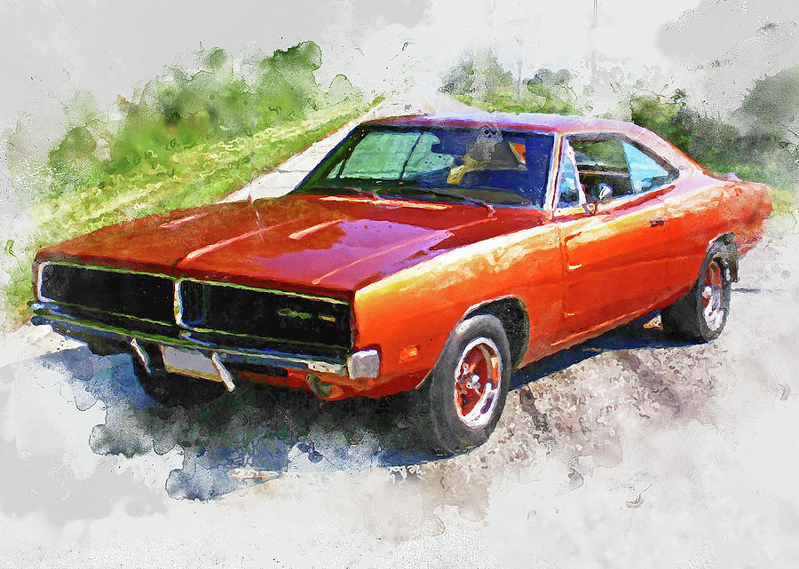 Dodge Charger 09 Painting By Am Fineartprints