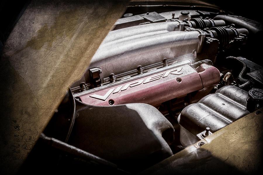 Dodge Viper Engine Photograph - Dodge Viper Srt-10 Engine Emblem -0854ac by Jill Reger