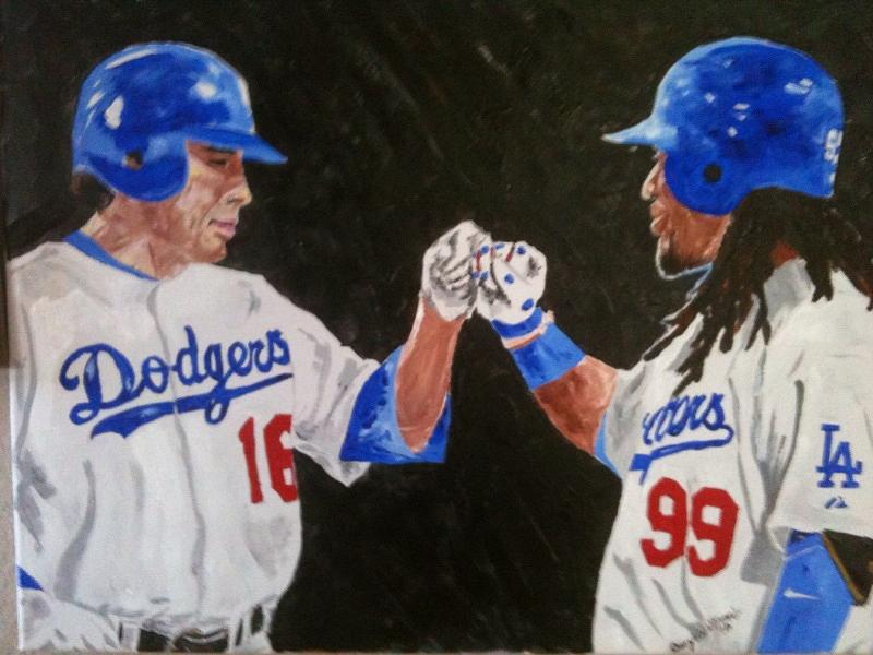 Baseball Painting - Dodgers Duo by Daryl Williams Jr