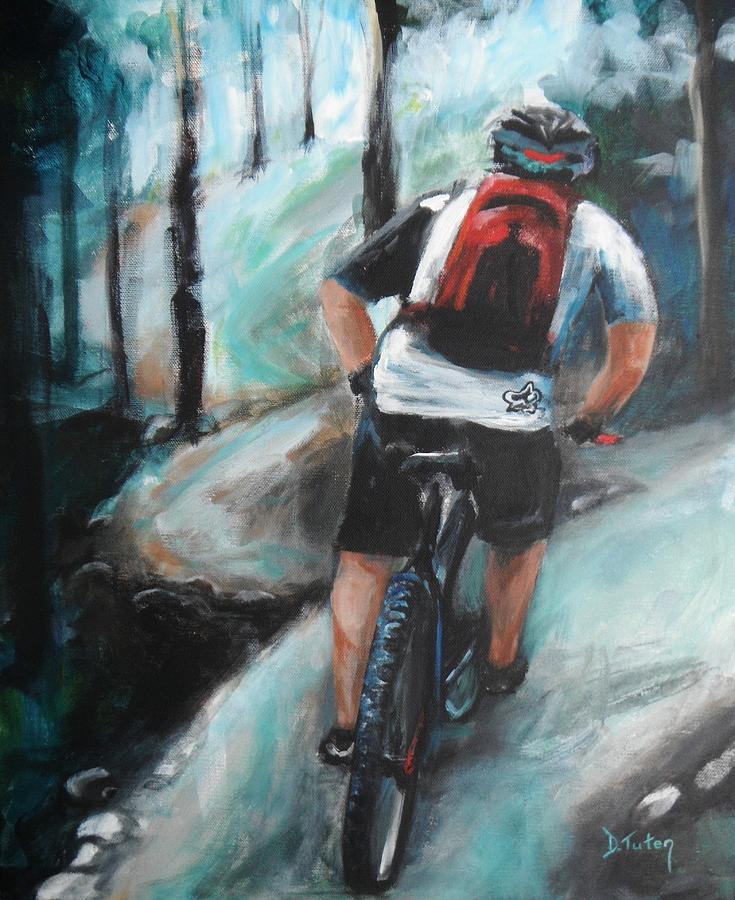 Bicycle Painting - Dodging Trees by Donna Tuten