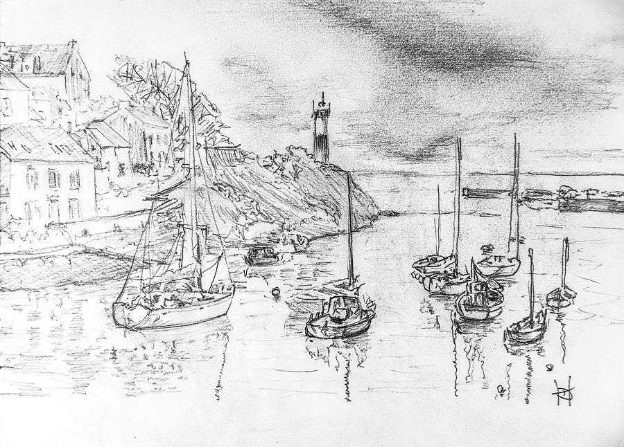 Sea Drawing - Doellan Sur Mer, Le Port by George Desire Herman