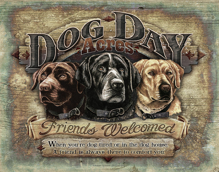Robert Schmidt Painting - Dog Day Acres Sign by JQ Licensing