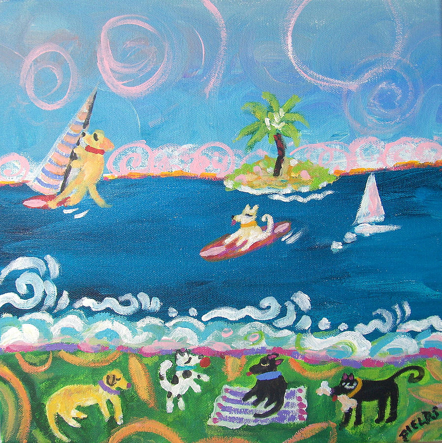 Dogs Painting - Dog Day At The Beach by Karen Fields