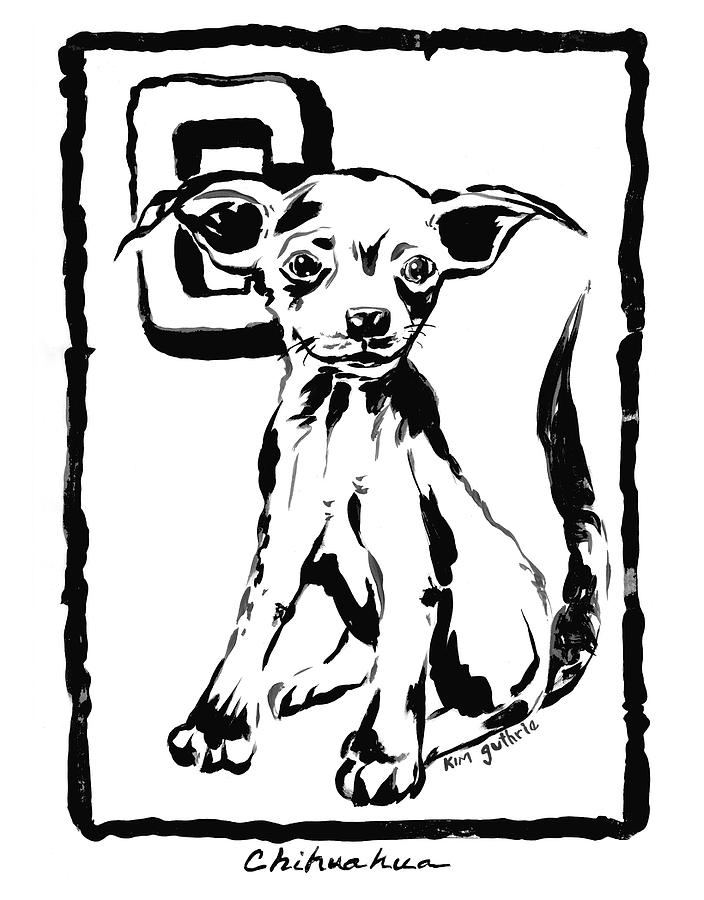 Dog Drawing Chihuahua Painting By Kim Guthrie