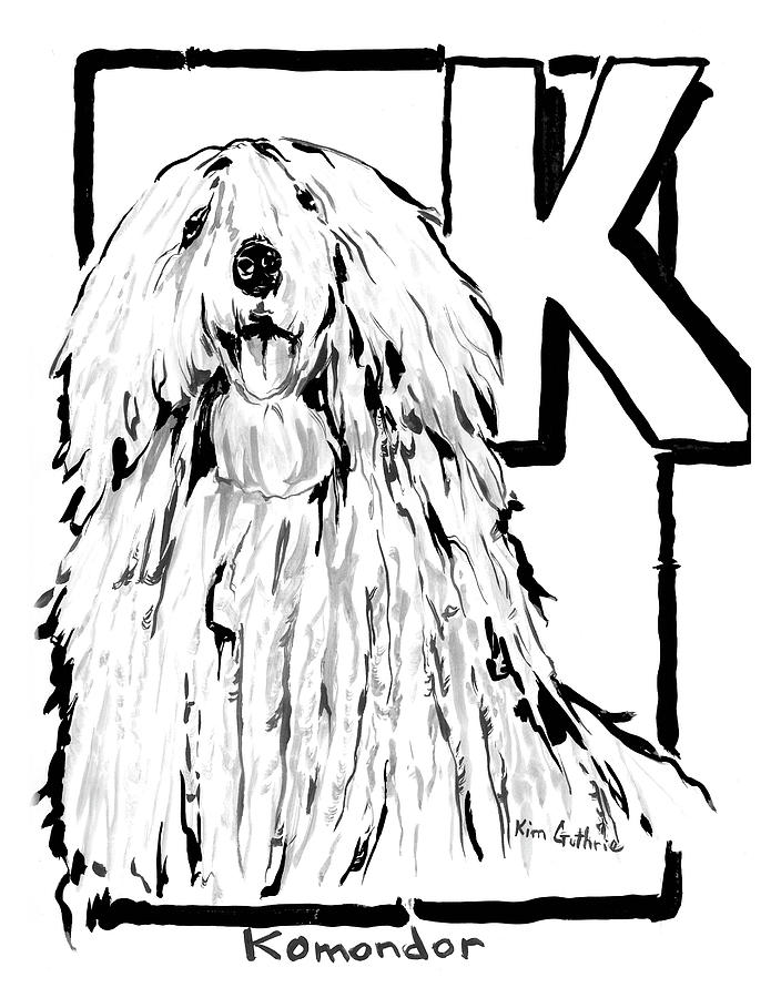 Dog Drawing Komondor Painting By Kim Guthrie