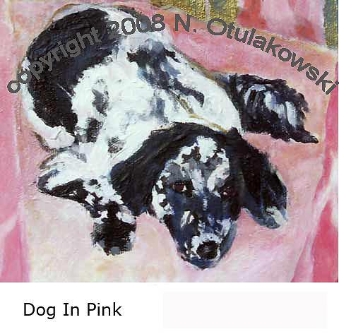 Spaniel Painting - Dog In Pink by Nina Otulakowski