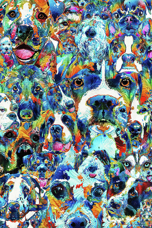 Dog Painting - Dog Lovers Delight - Sharon Cummings by Sharon Cummings