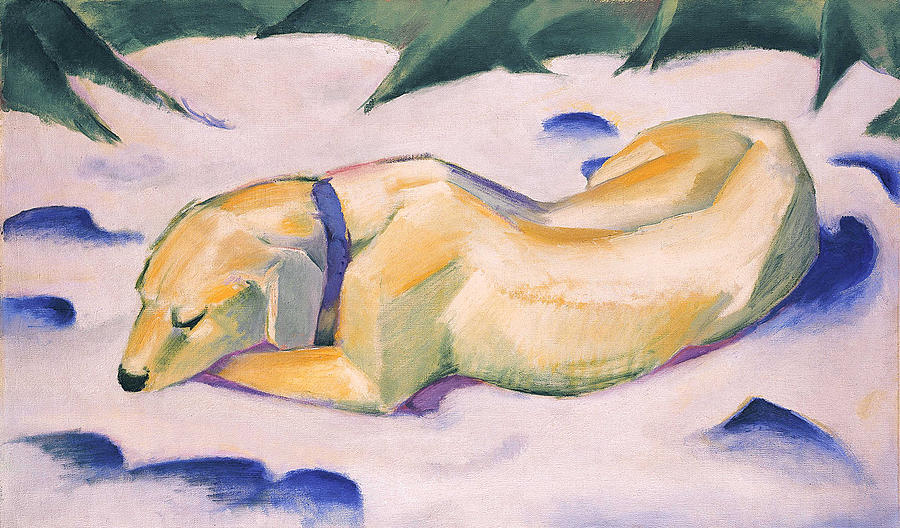 1911 Painting - Dog Lying In The Snow C.1911 by Franz Marc