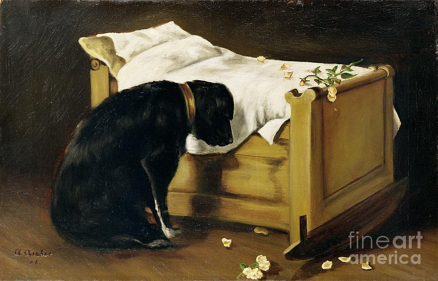 Grief Painting - Dog Mourning Its Little Master by A Archer
