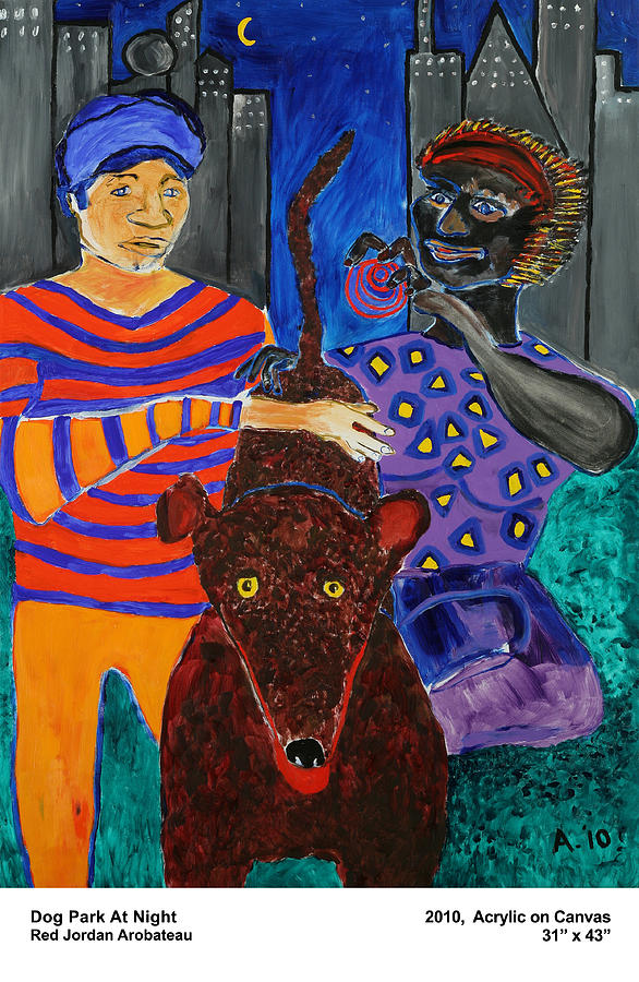 Dog Park At Night Painting by Red Jordan Arobateau