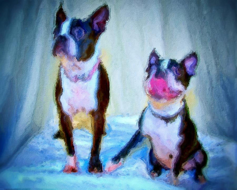 Dog Portrait Painting - Dog portrait of pets super cute animals painted on canvas in bright colors abstract and texture with pink tongues and happy faces seated on cloth in cool tones summer blues true friends by MendyZ