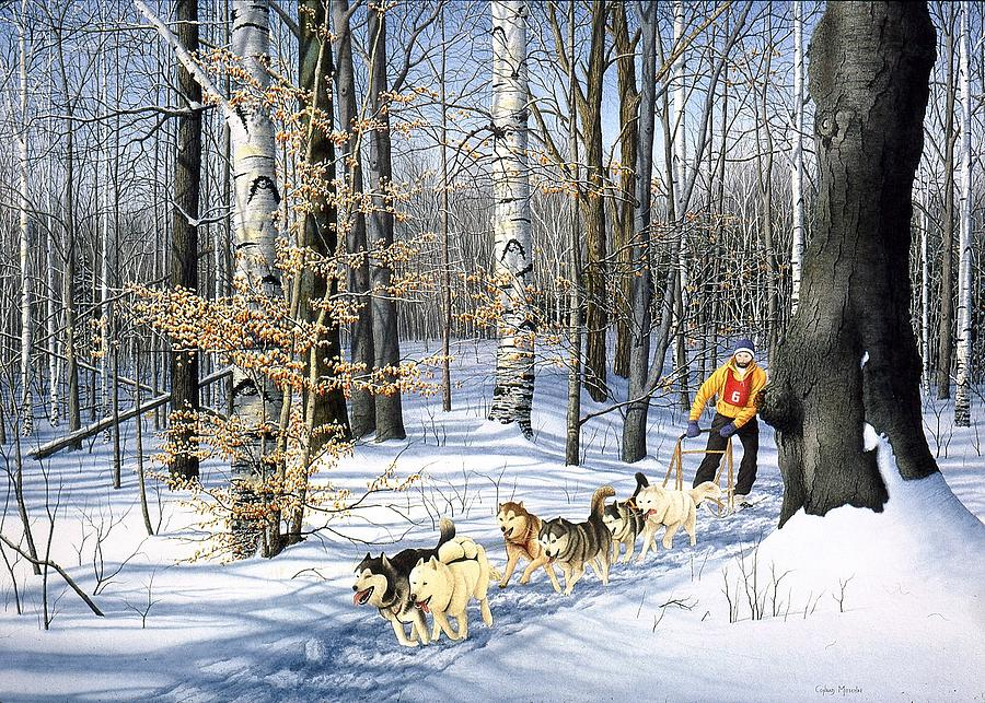 Landscape Painting - Dog-sled Racing by Conrad Mieschke