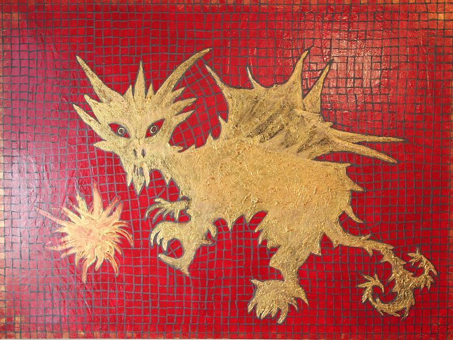 Mosaic Painting - Dog Spikey The Dragon And Elizabeth The Fireball by Tracy Fetter