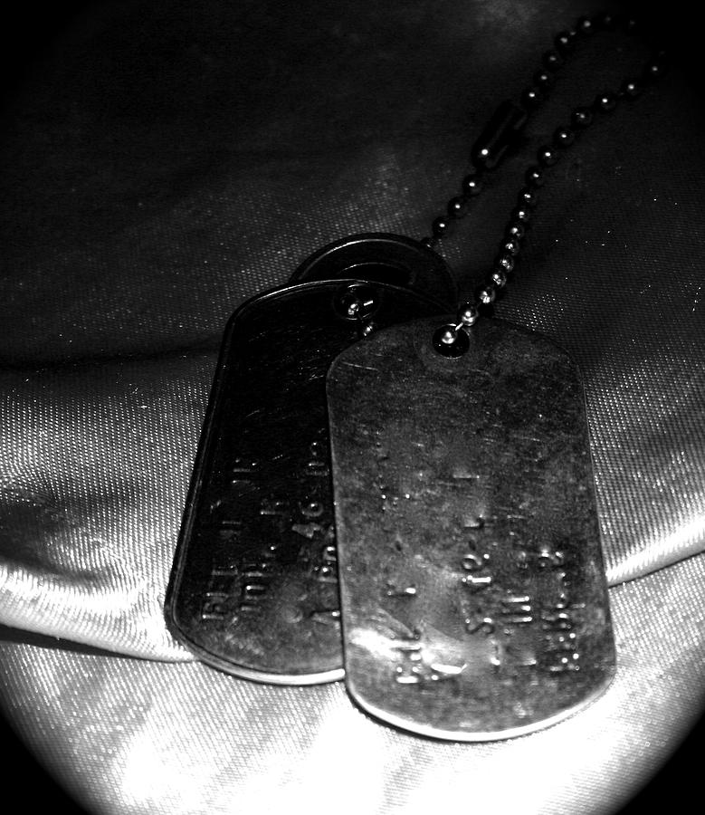 Dog Tags Photograph - Dog Tags In Black And White by Aimee Galicia Torres