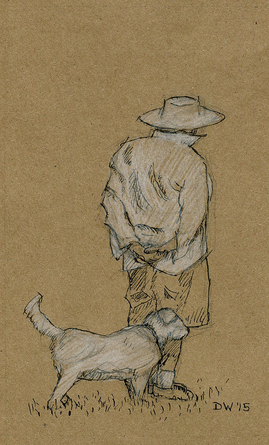 Dog Walker Plein Air by Dominic White