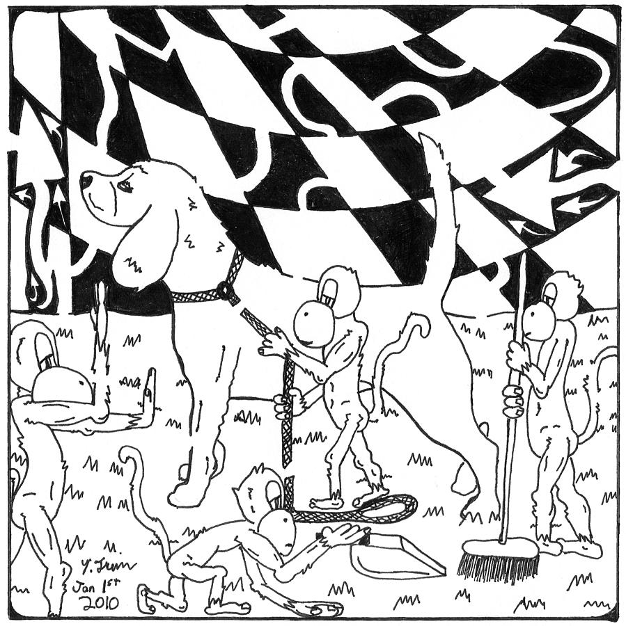 Maze Drawing - Dog Walking Monkeys Maze By Yonatan Frimer by Yonatan Frimer Maze Artist