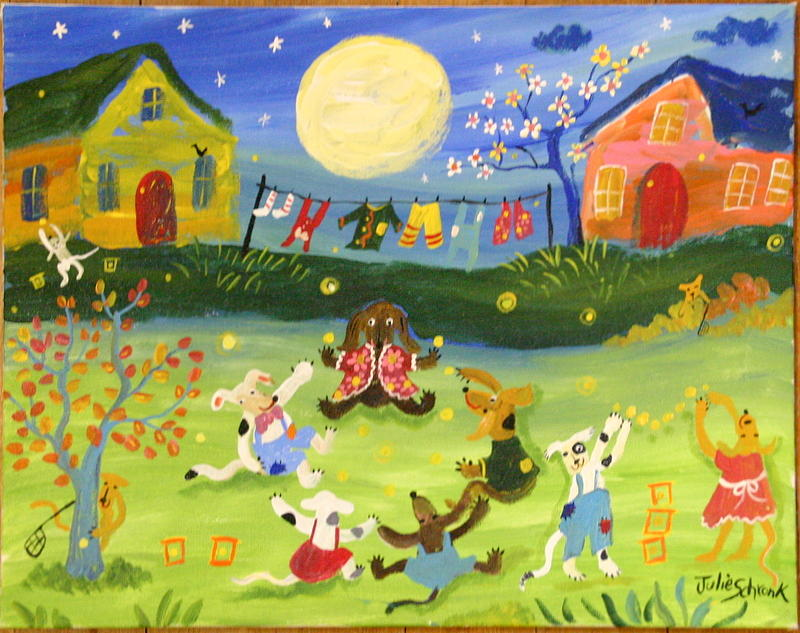 Doggone Good Firefly Evening Painting by Julie Schronk