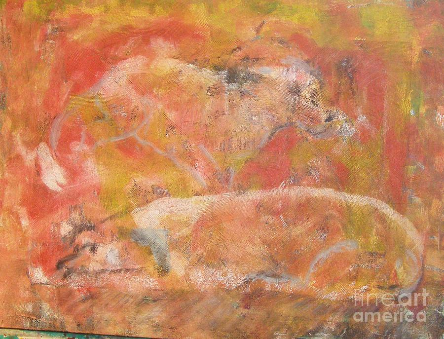Abstract Painting - Dogs - Mother And Child by Don Phillips