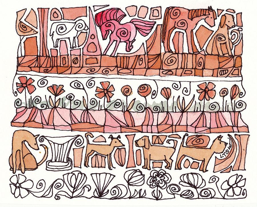 Small Drawing Drawing - Dogs And Shapes by Linda Kay Thomas