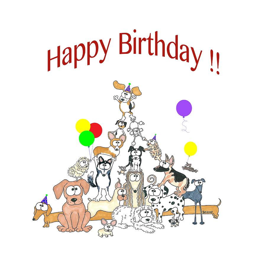 Dogs Happy Birthday Drawing By Barbara Belknap Sprague