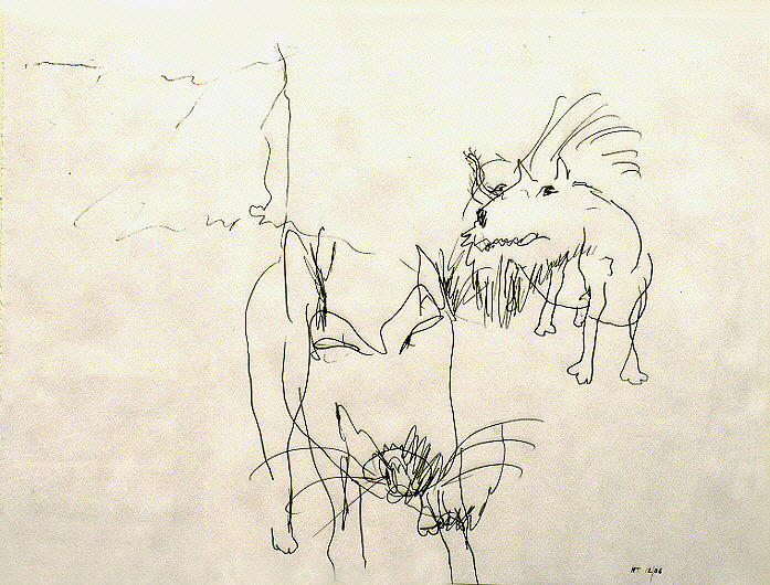 Animal Drawing - Dogs-listening by Nick Thabit