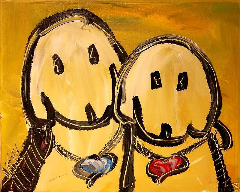 Dogs Painting by Mark Kazav