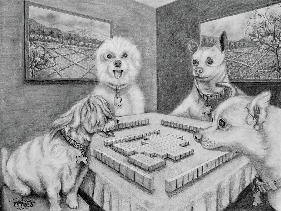 Dogs Playing Mahjong by Cyril Maza
