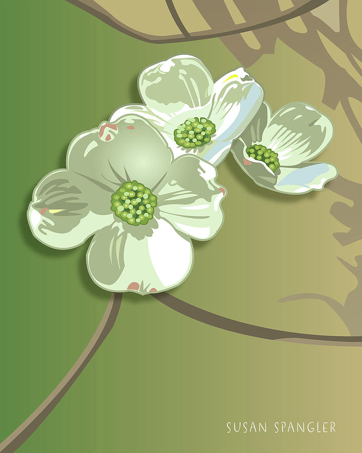 Flowers Digital Art - Dogwood Blossoms by Susan Spangler