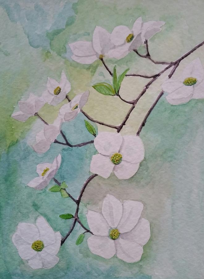 Dogwood Flowers Painting By Gw Smith