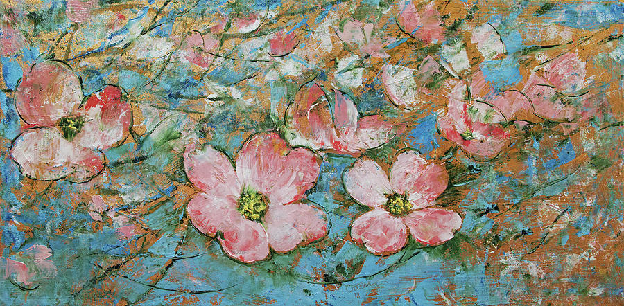 Abstract Painting - Dogwood Flowers by Michael Creese