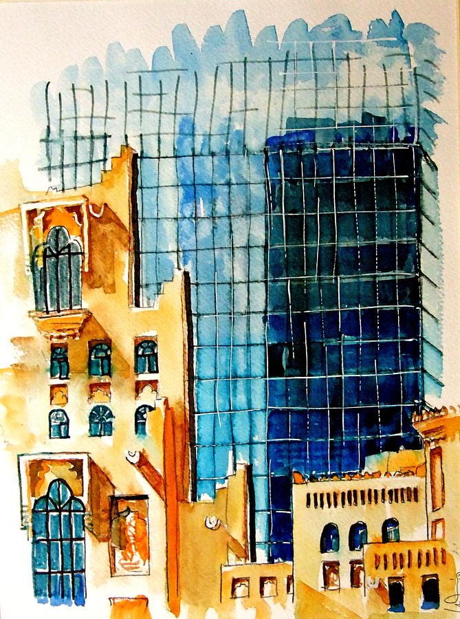 Doha Painting - Doha Reflections by Mike Shepley DA Edin