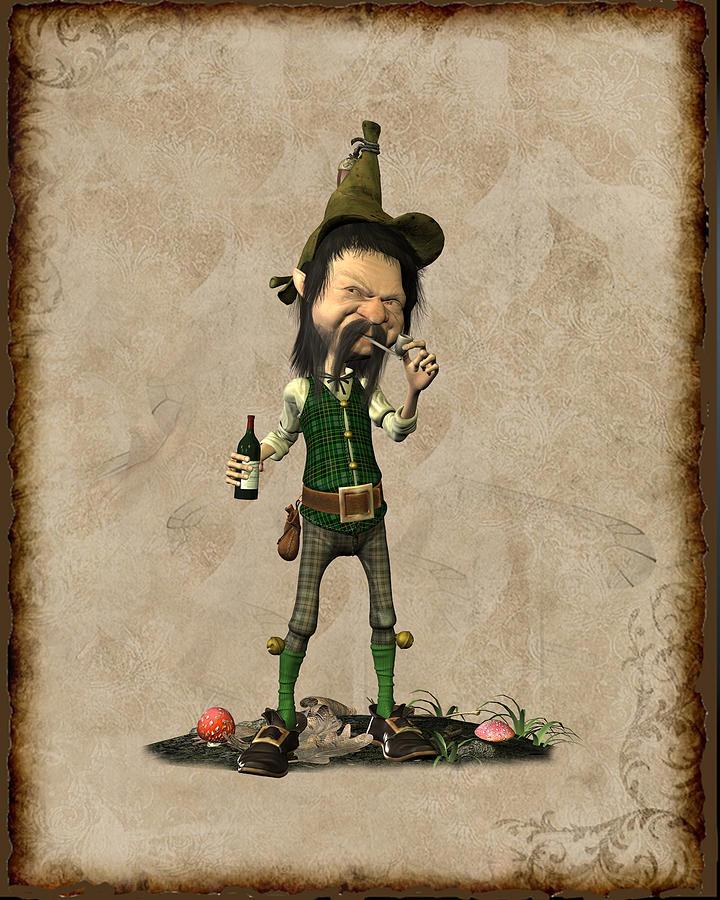 Doldhor - Leprechaun Painting  Digital Art by John Junek