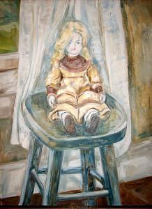 Doll On Stool Painting by Joseph Sandora Jr