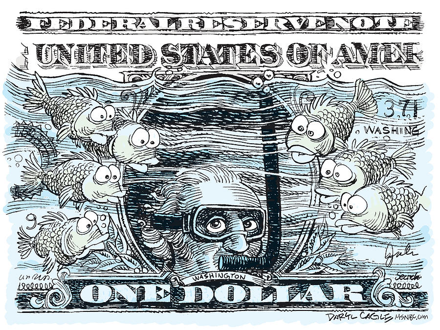 Dollar Drawing - Dollar Submerged by Daryl Cagle