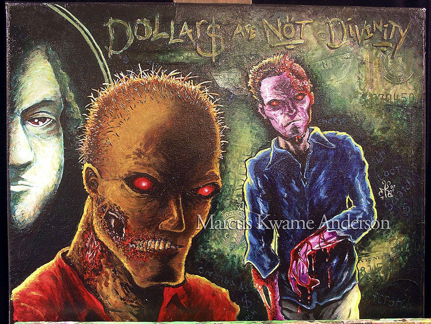 Dollars Painting - Dollars Are Not Divinity by Marcus Anderson