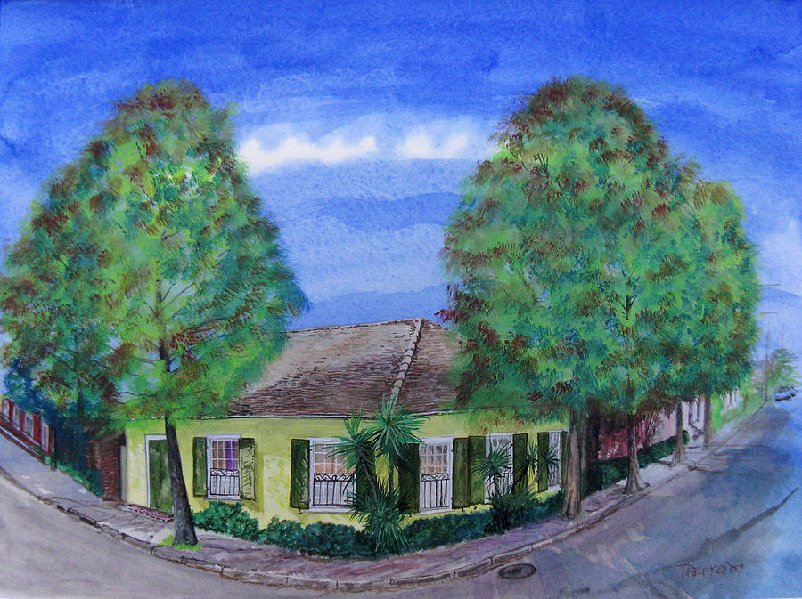 Street Scene Painting - Dolliole Cottage by Tom Hefko