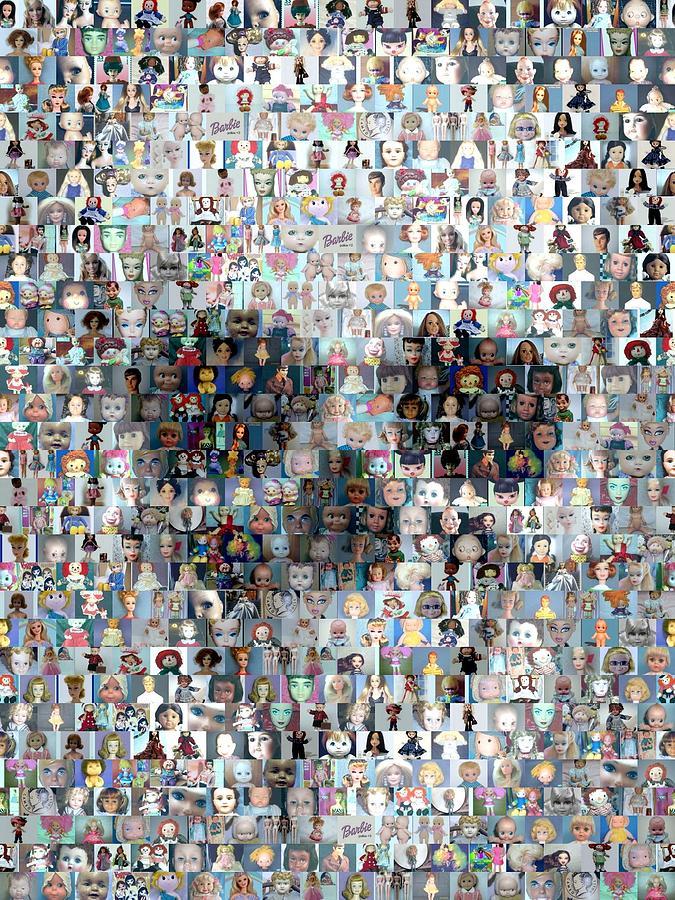 Dolls Skull Mosaic Mixed Media