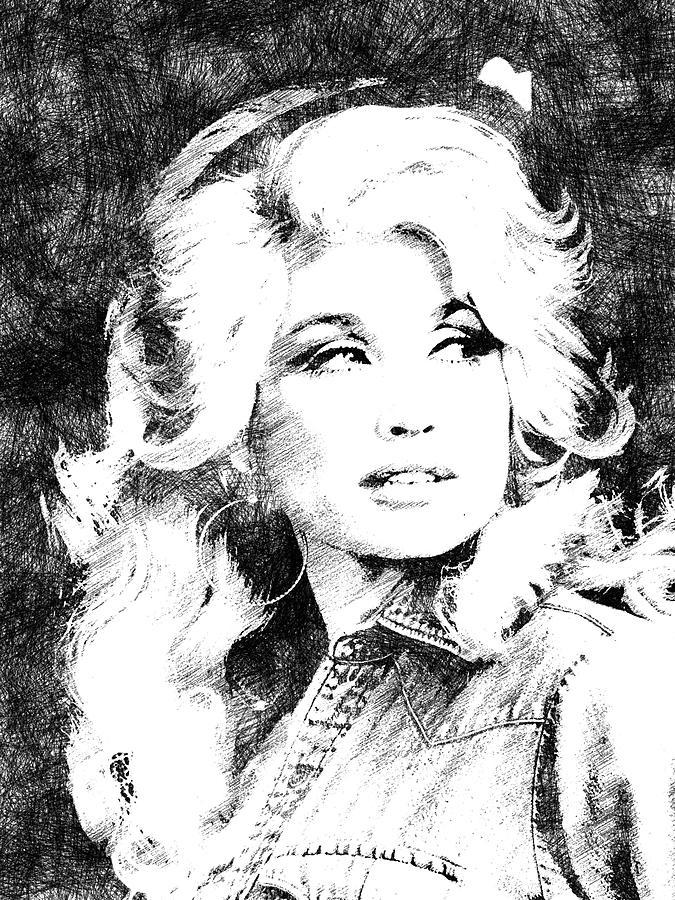 Dolly Parton Digital Art - Dolly Parton bw portrait by Mihaela Pater