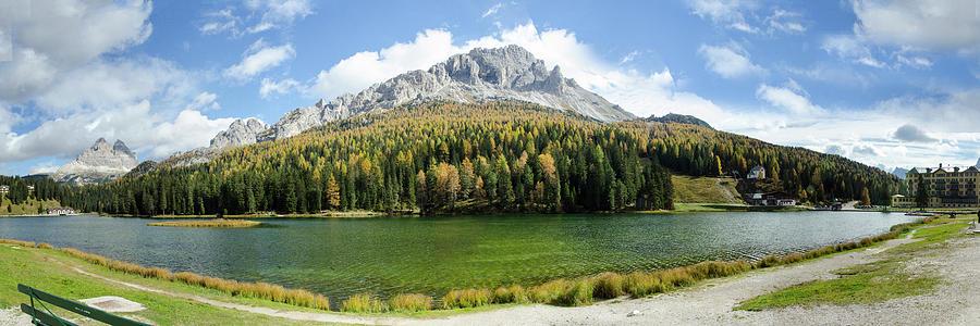 Dolomite Mountain Lake Panaorama by Richard Henne
