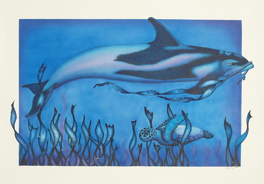 Dolphins Drawing - Dolphin And Turtle by Erik Loiselle
