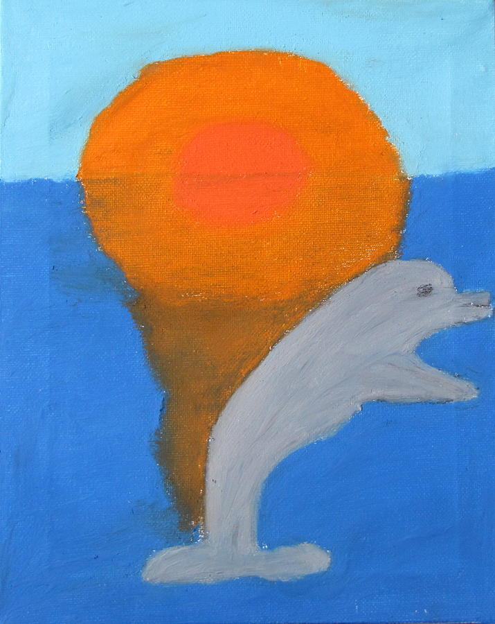 Dolphin Pastel - Dolphin At Sunset by Melissa Parks