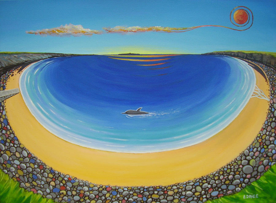 Dolphin Painting - Dolphin At Whitestrand by Eamon Doyle