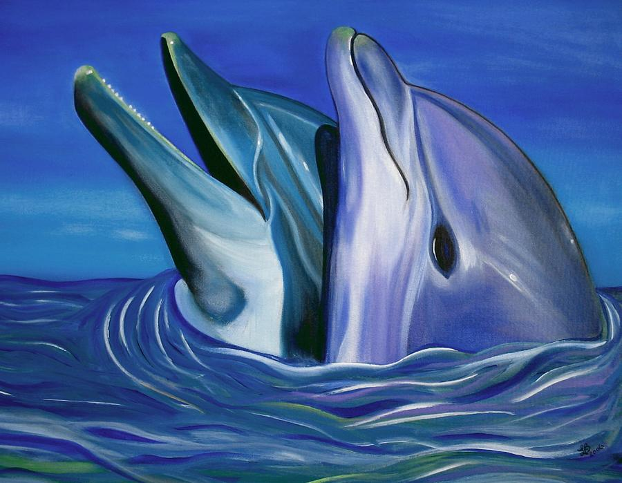 Dolphin Painting - Dolphin Dance by Laura Barbosa