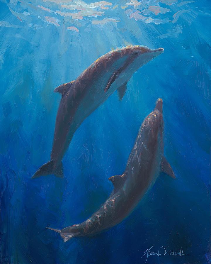 Dolphin Dance - Underwater Whales - Ocean Art - Coastal Decor by Karen Whitworth